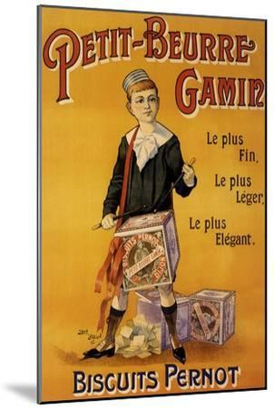 Label of Pernot Biscuits: Petit Beurre Gamin, c.1901-Jack Abeille-Mounted Giclee Print