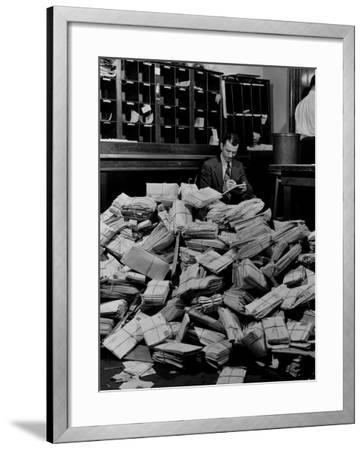 Senate Post Office Filling Up with Letters from Constituents on the Neutrality Issue-David Scherman-Framed Photographic Print
