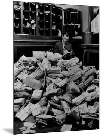 Senate Post Office Filling Up with Letters from Constituents on the Neutrality Issue-David Scherman-Mounted Photographic Print