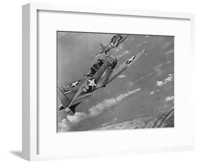 American Navy Torpedo Bombers Fly over Burning Japanese Ship During the Battle of Midway--Framed Photographic Print