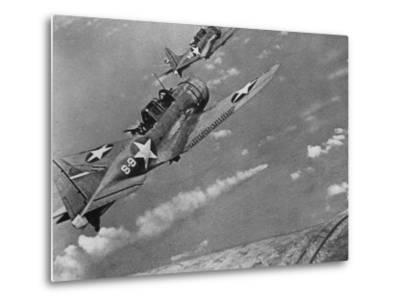 American Navy Torpedo Bombers Fly over Burning Japanese Ship During the Battle of Midway--Metal Print