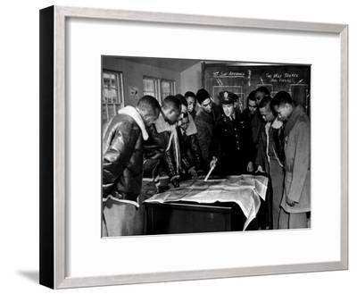 Members of the Famed Tuskegee Airmen Looking at a Flight Map During a Training Class--Framed Photographic Print