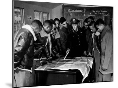 Members of the Famed Tuskegee Airmen Looking at a Flight Map During a Training Class--Mounted Photographic Print