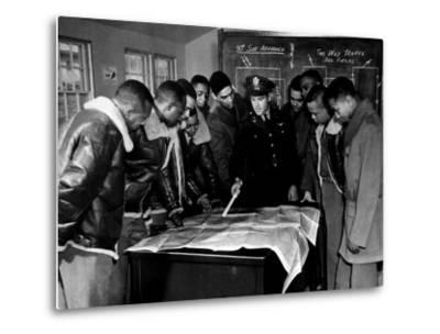 Members of the Famed Tuskegee Airmen Looking at a Flight Map During a Training Class--Metal Print