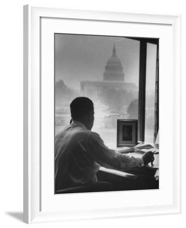 Pres. of Teamsters Union Jimmy Hoffa Talking on Phone-Hank Walker-Framed Premium Photographic Print