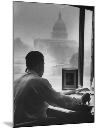 Pres. of Teamsters Union Jimmy Hoffa Talking on Phone-Hank Walker-Mounted Premium Photographic Print