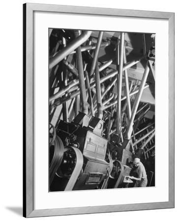 Worker Checking Quality Control at Flour Mill-Margaret Bourke-White-Framed Photographic Print