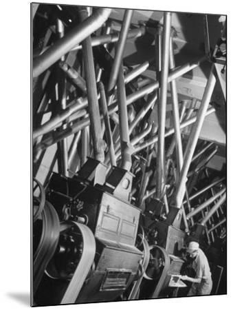 Worker Checking Quality Control at Flour Mill-Margaret Bourke-White-Mounted Photographic Print