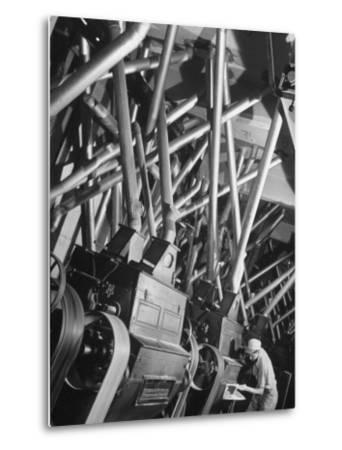 Worker Checking Quality Control at Flour Mill-Margaret Bourke-White-Metal Print