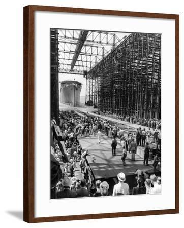Crowds Watching Launching of New Ocean Liner, America, as in Slides into the Water-Alfred Eisenstaedt-Framed Photographic Print