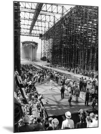 Crowds Watching Launching of New Ocean Liner, America, as in Slides into the Water-Alfred Eisenstaedt-Mounted Photographic Print