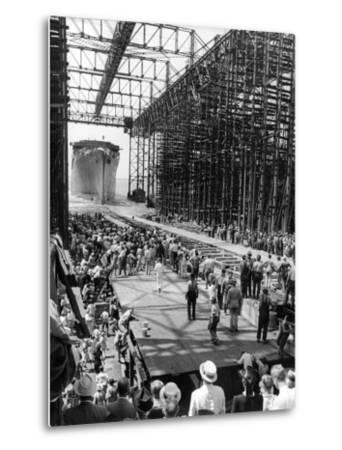 Crowds Watching Launching of New Ocean Liner, America, as in Slides into the Water-Alfred Eisenstaedt-Metal Print
