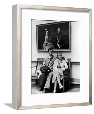 Charles Pope, Track Star and Student Council President Sitting with Katherine Winne-Alfred Eisenstaedt-Framed Photographic Print