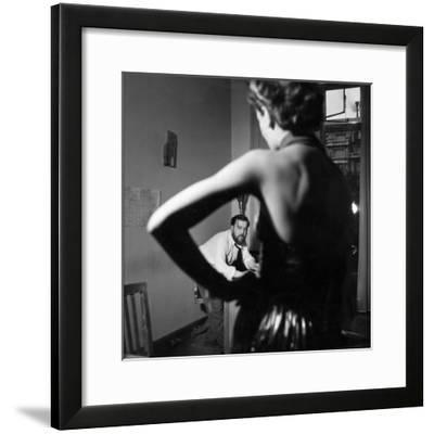Christian Berard Sketching a Model in the Offices of Paris Vogue-Roger Schall-Framed Premium Photographic Print