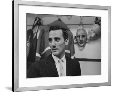 Canadian Goalie Jacques Plante Displays Latest Face Stitches Received in Cause of Rough Hockey Game-George Silk-Framed Premium Photographic Print