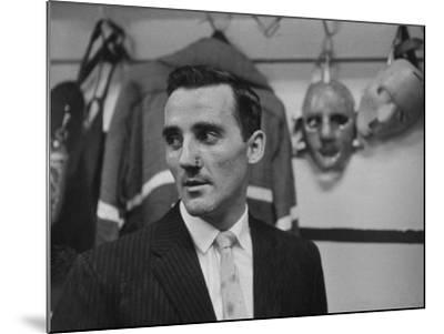 Canadian Goalie Jacques Plante Displays Latest Face Stitches Received in Cause of Rough Hockey Game-George Silk-Mounted Premium Photographic Print
