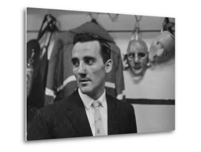 Canadian Goalie Jacques Plante Displays Latest Face Stitches Received in Cause of Rough Hockey Game-George Silk-Metal Print