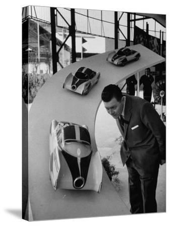 Man Admiring Fiat Automobile Exhibit at the Milan Fair-Ralph Crane-Stretched Canvas Print