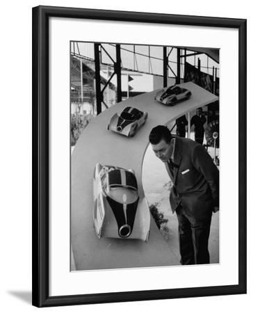 Man Admiring Fiat Automobile Exhibit at the Milan Fair-Ralph Crane-Framed Photographic Print