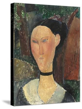 Femme au ruban de velours-Amedeo Modigliani-Stretched Canvas Print
