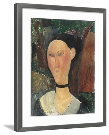 Femme au ruban de velours-Amedeo Modigliani-Framed Giclee Print