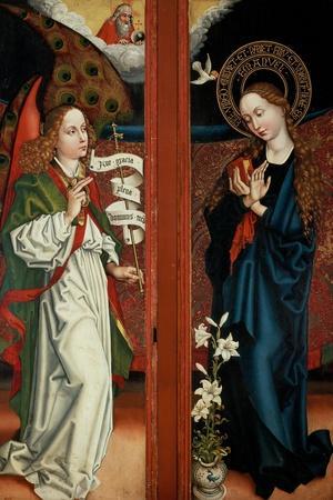 Annunciation-Martin Schongauer-Stretched Canvas Print