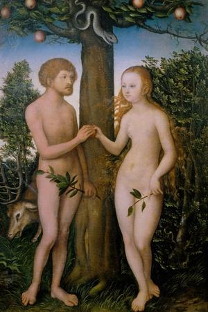 Adam and Eve, 1530-Lucas Cranach the Elder-Stretched Canvas Print