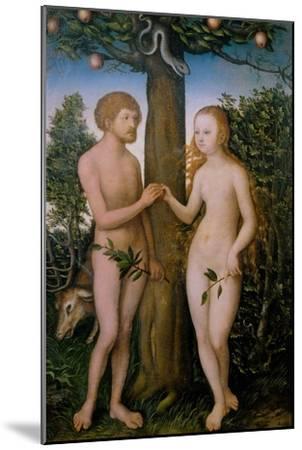 Adam and Eve, 1530-Lucas Cranach the Elder-Mounted Giclee Print