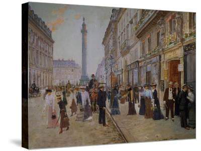 The Exit of the Tailors from the Maison Paquin at Rue De La Paix-Jean B?raud-Stretched Canvas Print