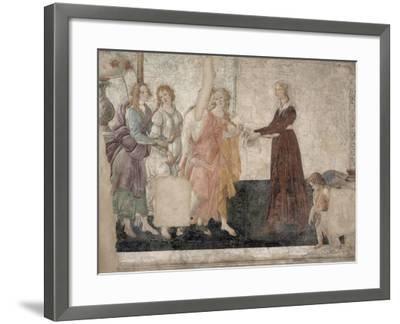 Vénus et les Grâces offrant des présents à une jeune fille-Sandro Botticelli-Framed Giclee Print
