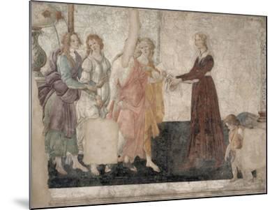 Vénus et les Grâces offrant des présents à une jeune fille-Sandro Botticelli-Mounted Giclee Print