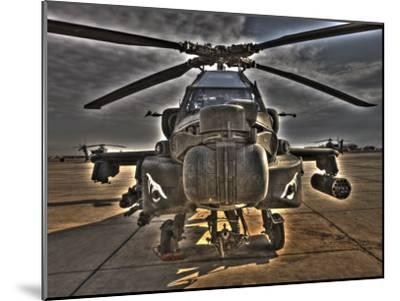 Seven Exposure HDR Image of an AH-64D Apache Helicopter as it Sits on its Pad-Stocktrek Images-Mounted Photographic Print