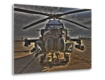 Seven Exposure HDR Image of an AH-64D Apache Helicopter as it Sits on its Pad-Stocktrek Images-Metal Print