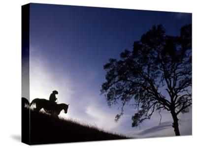 Silhouette of Cowboy, Picabo, Idaho-Kate Thompson-Stretched Canvas Print