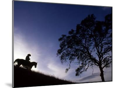 Silhouette of Cowboy, Picabo, Idaho-Kate Thompson-Mounted Photographic Print