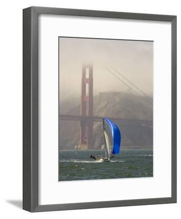 International 14 Skiff Sails under the Golden Gate Bridge, San Francisco Bay, California-Skip Brown-Framed Photographic Print