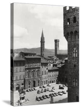 Piazza Della Signoria in Florence with the Belltower of the Badia Fiorentina and the Bargello Tower-Vincenzo Balocchi-Stretched Canvas Print