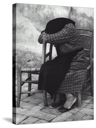 Old Woman Sleeping-Vincenzo Balocchi-Stretched Canvas Print