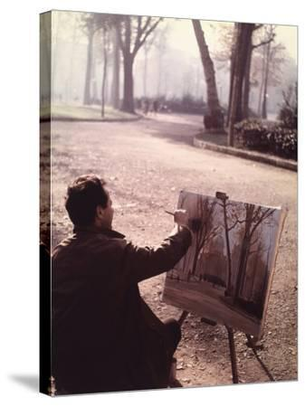 Painter in the Park-Vincenzo Balocchi-Stretched Canvas Print