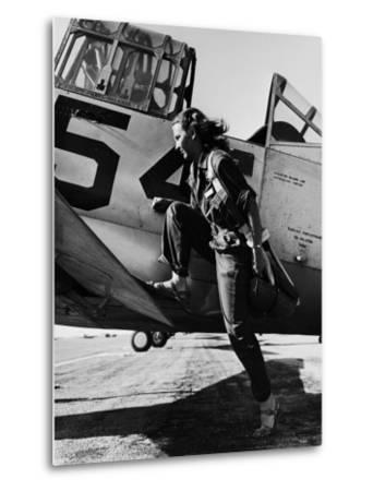 Female Pilot of the Us Women's Air Force Service Posed with Her Leg Up on the Wing of an Airplane-Peter Stackpole-Metal Print