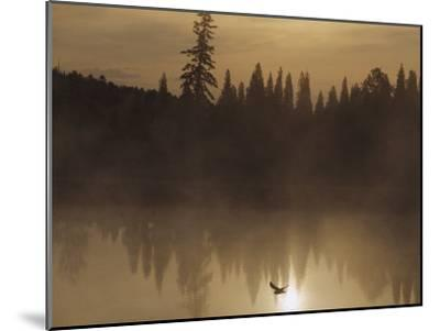 A Bird Flies Low over Fog-Shrouded Lake Superior-Medford Taylor-Mounted Photographic Print