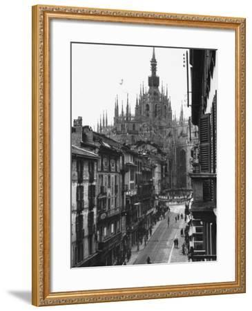 View of the Landscape of Milan with the Cathedral Dominating the Background-Carl Mydans-Framed Photographic Print