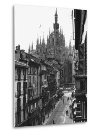 View of the Landscape of Milan with the Cathedral Dominating the Background-Carl Mydans-Metal Print