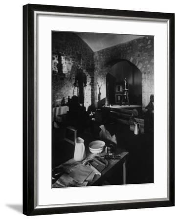 Interior of Picasso's Workshop at Notre-Dame-De-Vie-Gjon Mili-Framed Photographic Print