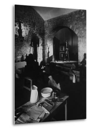 Interior of Picasso's Workshop at Notre-Dame-De-Vie-Gjon Mili-Metal Print