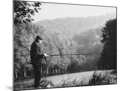 Fisherman on Banks of European Waterway-Pierre Boulat-Mounted Photographic Print