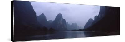 River Passing Through a Hill Range, Guilin Hills, Li River, Yangshuo, China--Stretched Canvas Print