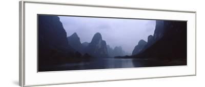 River Passing Through a Hill Range, Guilin Hills, Li River, Yangshuo, China--Framed Photographic Print
