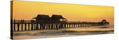 Stilt Houses on the Pier, Gulf of Mexico, Naples, Florida, USA--Stretched Canvas Print