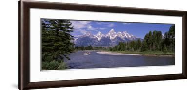 Inflatable Raft in a River, Grand Teton National Park, Wyoming, USA--Framed Photographic Print